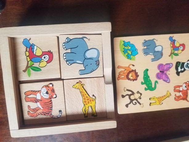 Domino kolorowe drewniane