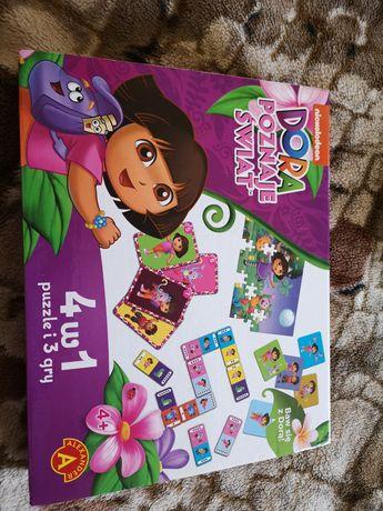 Gra edukacyjna Dora Poznaje Świat jak nowa. 4w1.
