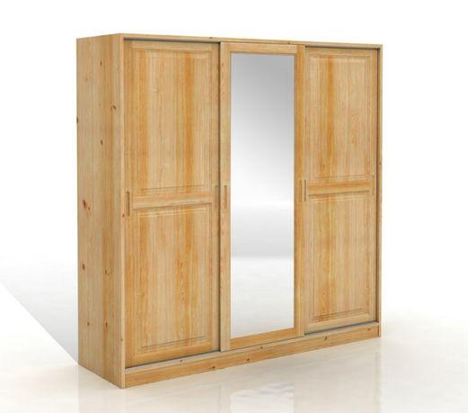 Szafa drewniana - sosnowa ALFA 3D z lustrem