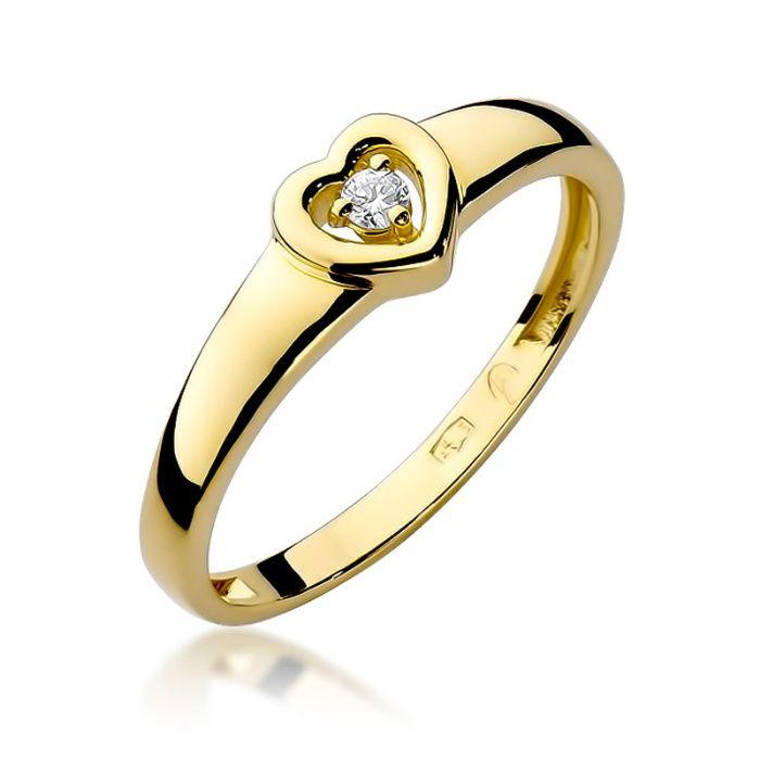 Złoty pierścionek z brylantam 0,040ct. Kozy - image 1