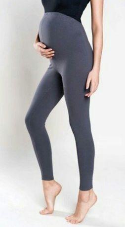 Grafitowe legginsy ciążowe rozmiar S ocieplane bezuciskowe elastyczne