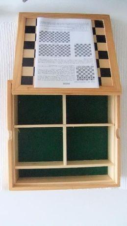 Tabuleiro/estojo para vários jogos - Xadrês, Damas, Dominó, Pocker...