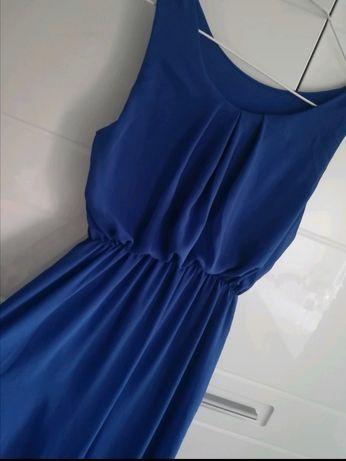 Granatowa, długa sukienka