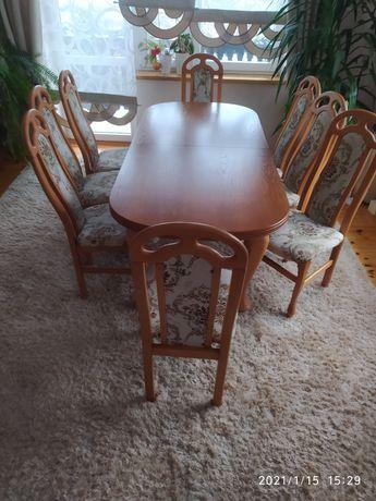 Stół rozkładany 2/3m + 8 krzeseł