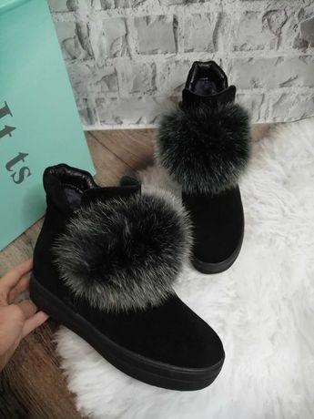 Ботинки женские зима,натуральный замш