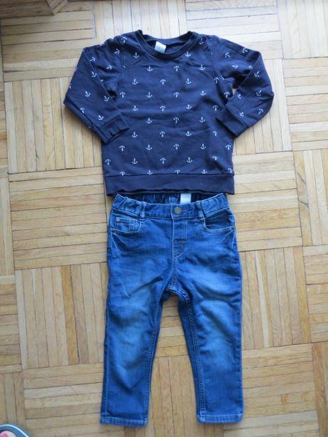 Zestaw spodnie jeansy bluza rozm 92 H&M