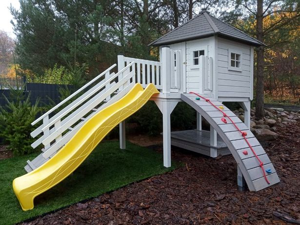 Plac Zabaw Drewniany Domek Dla Dzieci Zjeżdżalnia Huśtawka Biały