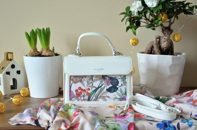 Biała torebka listonoszka NOWA z kolorowym przodem
