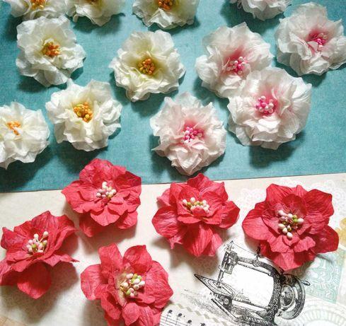 Бумажные Цветы белые Красные Розы 5 см Декор для cкрапбукинга квіти