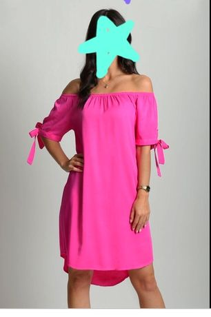 Nowa hiszpanka fuksja L-Xl sukienka odkryte ramiona różowa