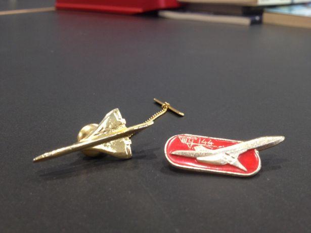 Pinos metálicos Aviões Concorde e Tupolev vintage