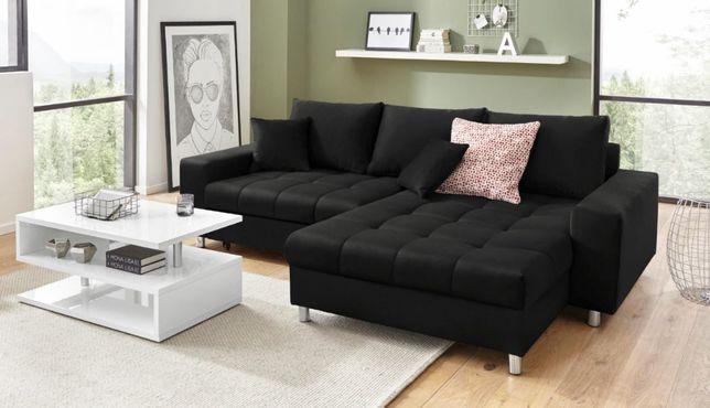 Czarna kanapa MIMOS z funkcją spania i pojemnikiem producent narożnik