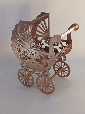 wózek 3d, flowerbox, oczepiny,ślub, chrzest, roczek