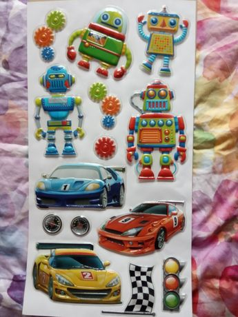 Naklejki 3D samoprzylepne robot auto