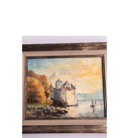 Картина Шильонский замок Автор  LM Baijot Швейцария  Масло  С сертифик
