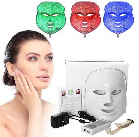 Maska lampa Led na twarz, światłoterapia 3 kolory