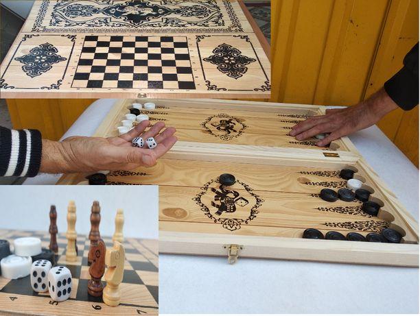 Шахматы Шашки Нарды Шахи Нарди деревянные 3 в 1 наборе большие 54х54