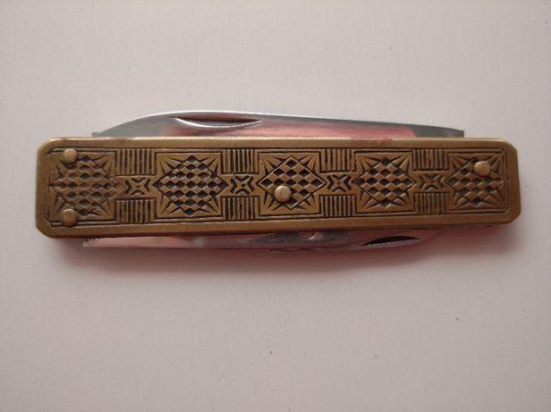 scyzoryk Vintage z brązu lub mosiądzu-antikes Taschenmesser
