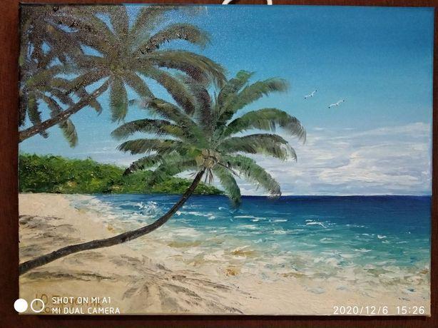 Картина, масло, холст, пальмы, 30*40