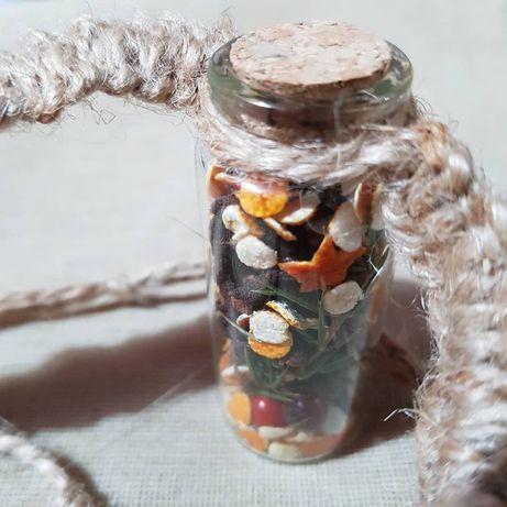 Buteleczka, amulet, makrama, suszone kwiaty, witchcraft, świąteczna