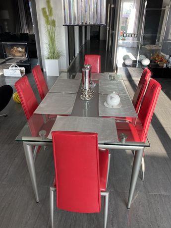 Kler stół szklany z 6 krzesłami skórzanymi