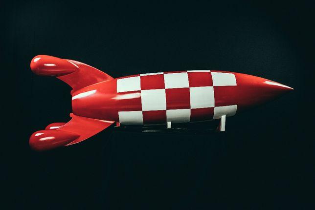 Foguetão / Rocket tipo Tintin - peça de arte decorativa
