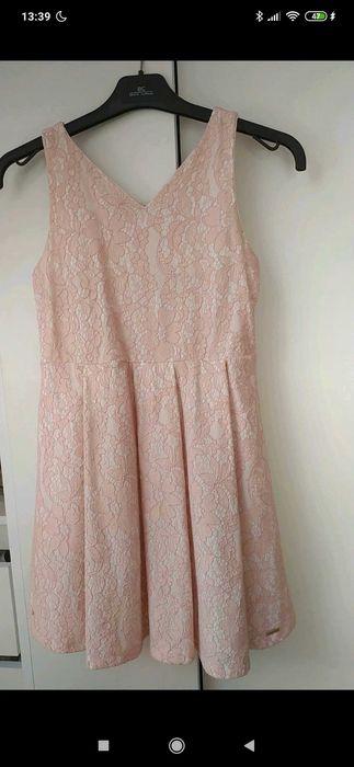Różowa sukienka w koronkę Miedzianka - image 1
