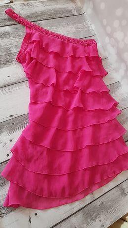 Sukienka Tally Weijl M asymetryczna z falbankami i kryształami
