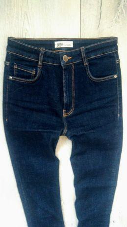 nowe Zara jeansy 34 36 wysoki stan ciemny denim