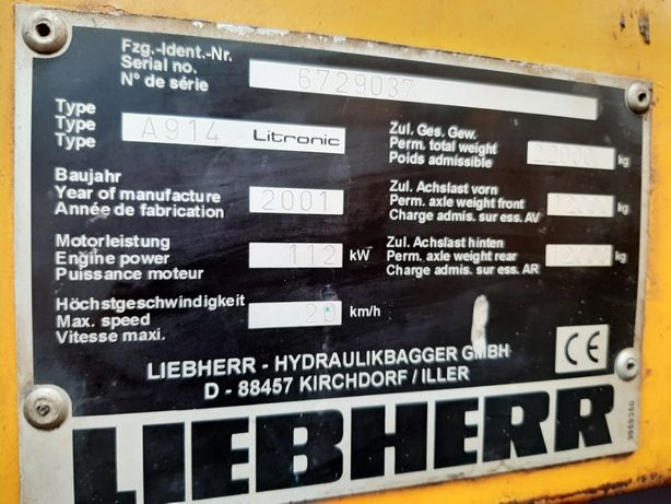 Koparka kołowa Liebherr 914 litronic na części