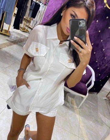 Chanel piękny komplet koszula spodenki biały złote logo L Prada Fendi