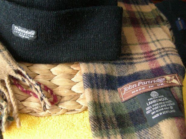 Czapka Thinsulate wełniany szalik wool 100% wełna Scotland jak nowe