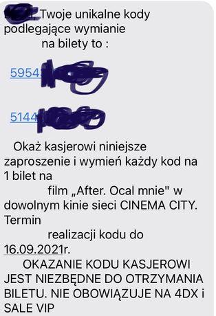 Dwa biletu do cinema city na After Ocal mnie