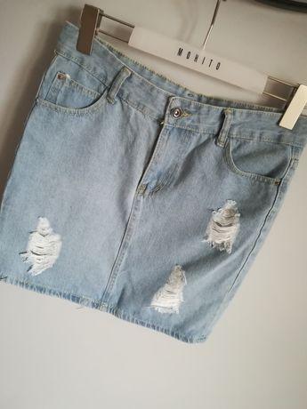 Jeansowa spódniczka #dziury wysoki stan