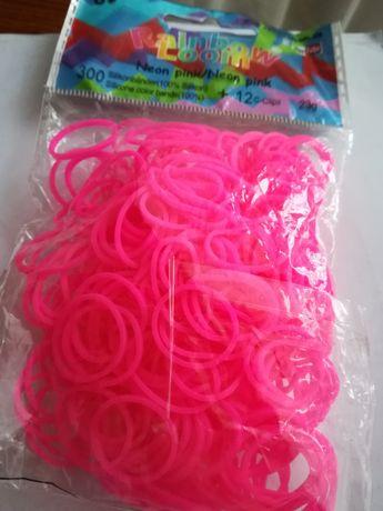 Gumki do bransoletek Rainbow Loom Neon Pink różowy neonowy 300 sztuk