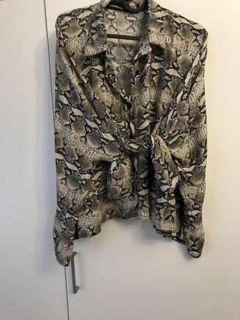 Bluzka panterka overrsize z falbanka