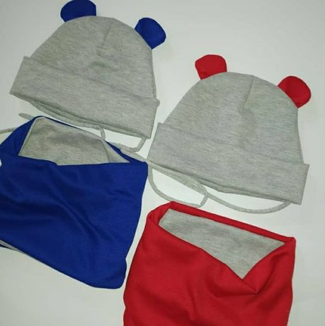Шапочка зимняя весенняя для мальчика шапка набор хомут ангора трикотаж
