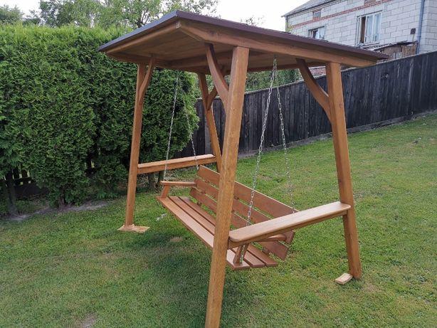 Drewniana huśtawka ogrodowa z dachem gont PROSTO OD PRODUCENTA