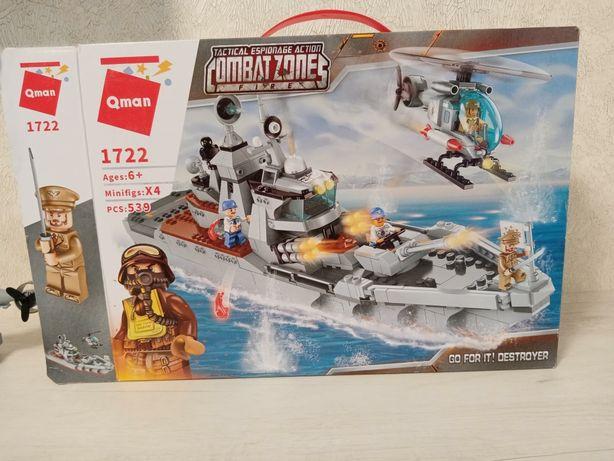 Конструктор Лего 4 шт корабль, полиция, автовоз, робот.