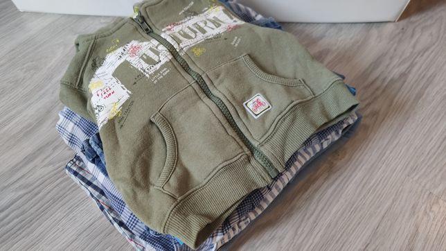 68/74 paka ubranka chłopiec 8 szt jeansy bluza ogrodniczki kurtka
