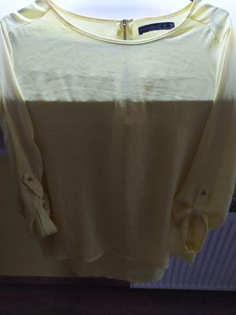 Żółta bluzka koszulowa, kolor żółty, na zameczek z tyłu, rękaw 3/4