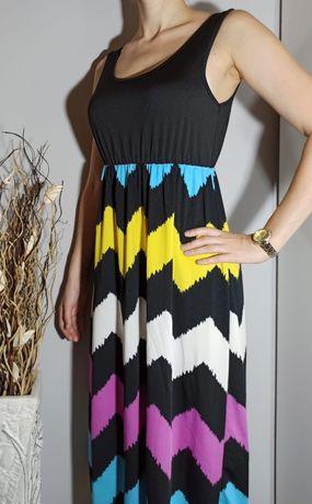 Midi sukienka z kolorowym dołem S/M