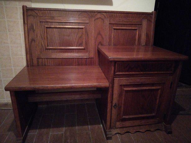 Dębowe siedzisko z szafką