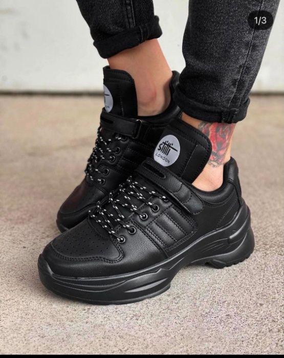 Чёрные демисезонные ботинки, кроссовки Киев - изображение 1