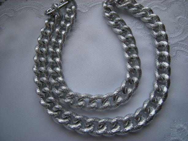 naszyjnik gruby łańcuch długi 60cm kolor srebrny