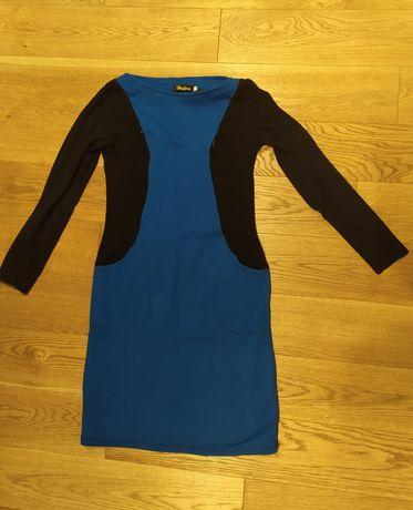 Sukienka niebieska/różowa; rozm.L; bawełniana