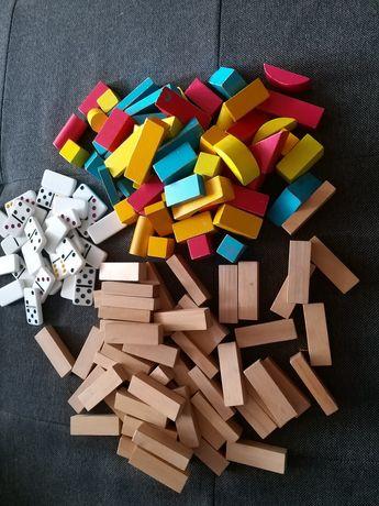 Zestaw klocków drewnianych+domino