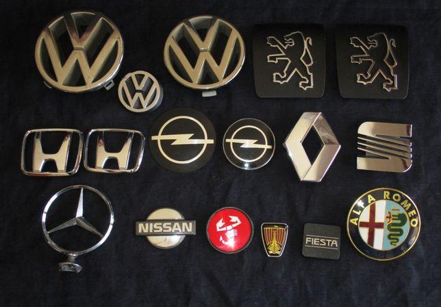 Símbolos e emblemas de marcas automóveis Ford Datsun VW Mini