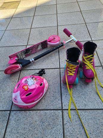 Patins,  trotinete  capacete e skate     o conjunto é de 35 euros