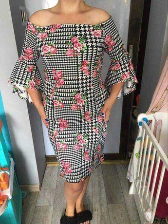 Sukienka midi hiszpanka w pepitkę i kwiatowy wzór 48/50 BPC
